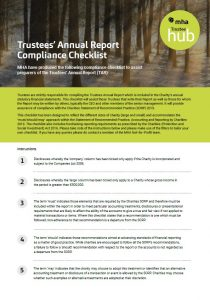 This checklist will assist those Trustees that compile the Trustees Annual Report.
