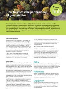 An annual performance checklist to help charities assess auditor performance, using key criteria.