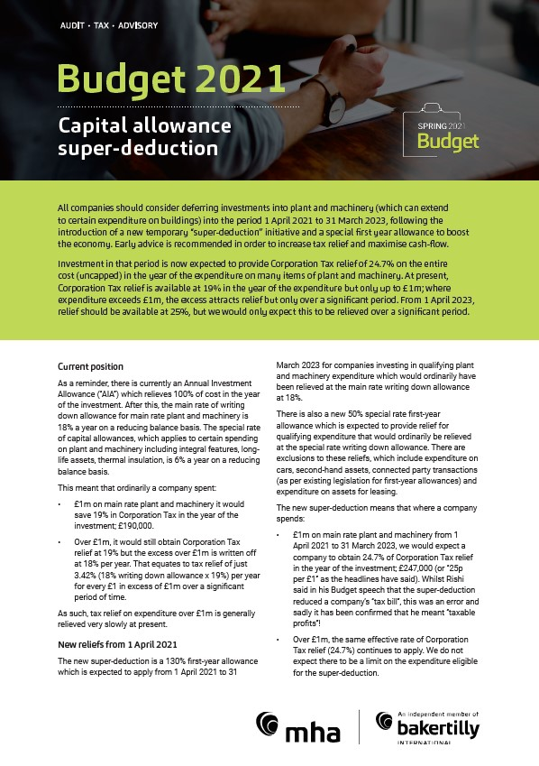 Budget 2021: Capital allowance super-deduction