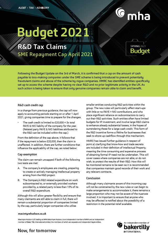 R&D Tax Claims – Budget 2021 update
