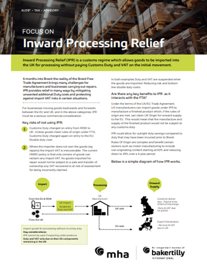 Focus On Inward Processing Relief